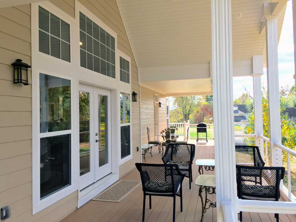 A beautiful covered deck increases the size of your living area.
