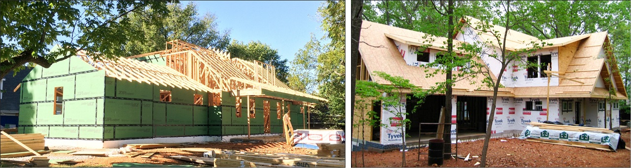Air seal your home with insulated sheathing or an exterior house wrap.
