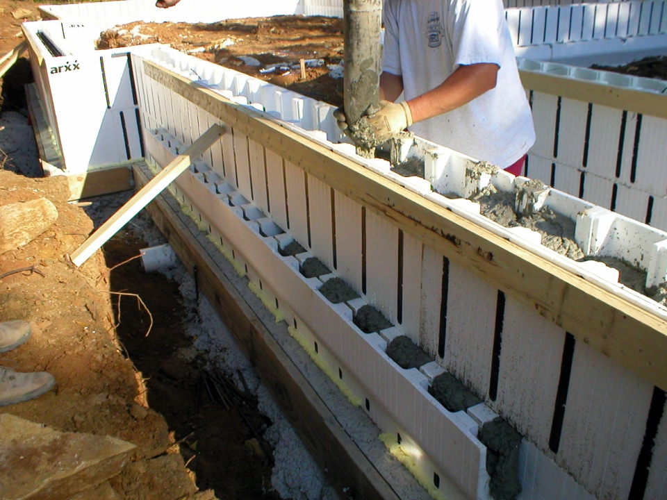 Concrete is poured into the insulated concrete forms.