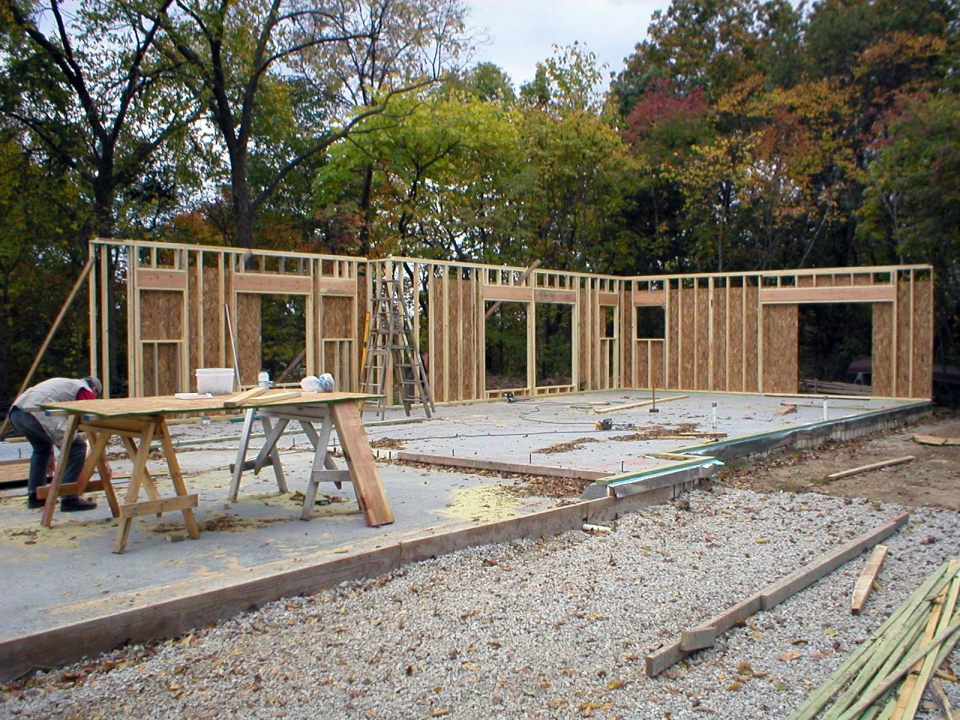 Construction begins on the exterior walls for the main level.
