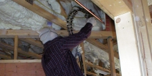 The soybean-based spray foam insulation is sprayed by professional installers.