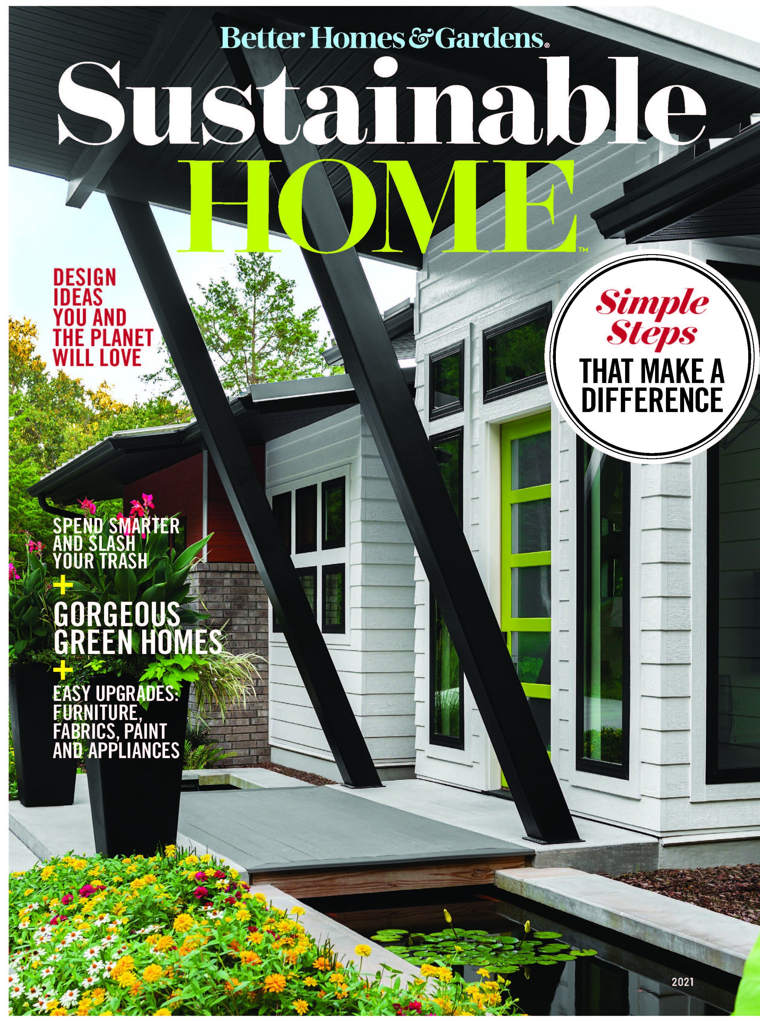 Cover of BHG Magazine featuring stitt home, front of house
